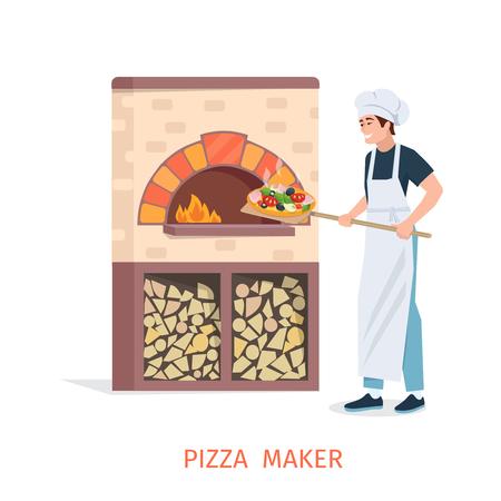 Pizzaiolo saca la pizza acabado desde el horno de piedra con fuego. pizzaiolo plana. Hombre joven en la profesión pizzaiolo. Cocinar ilustración vectorial de pizza.