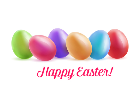 colored egg: Set of realistic colored eggs. Chicken Easter eggs. Icon egg. Easter eggs vetornaya illustration.