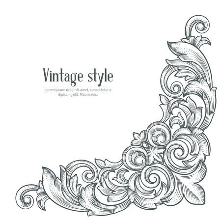 Vintage baroque corner. Retro  frame scroll  acanthus foliage swirl ornament engraving border.  Decorative  corner retro  design element. Corner hand draw vector.
