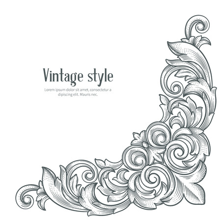 Vintage barokke hoek. Retro frame scroll acanthus gebladerte swirl ornament gravure grens. Decoratieve hoek retro design element. Corner hand te tekenen vector.