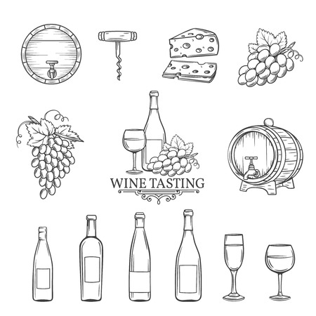 Hand draw wine icons set on white. Decorative wine icons . Monochrome icons wine in old style for the design of wine labels cards brochures. Wine vector illustration.  イラスト・ベクター素材