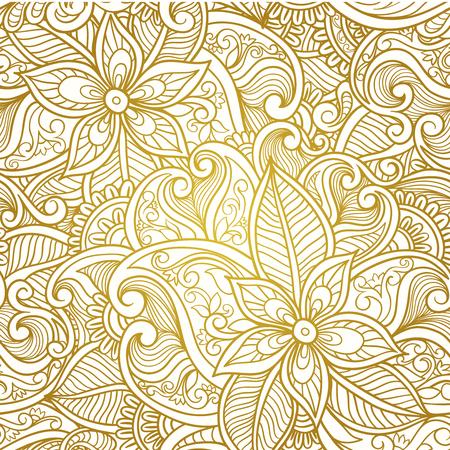 gold background: Vintage floral seamless paisley pattern.  Golden  paisley vector. Illustration