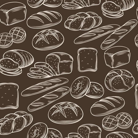 sandwich: Seamless hand draw bread pattern.  Decorative vector illustration with bread.  Bread brown pattern vintage ink style.