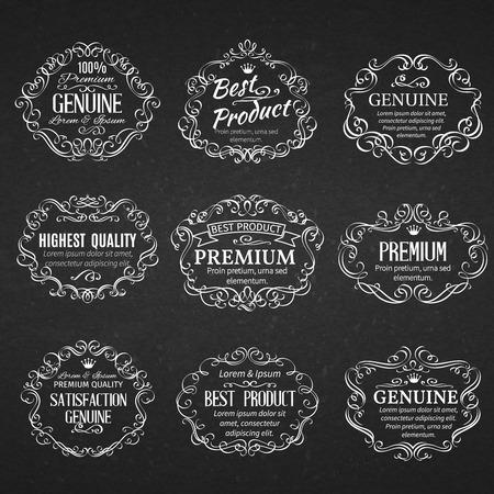 vintage scrolls: Calligraphic design elements . Decorative  scrolls frames labels in old style.  Vintage vector frame.