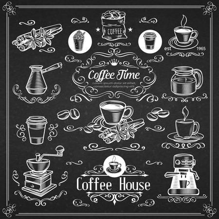 Icone decorative del caffè dell'annata. Inchiostro vintage per coffee shop. Elementi di disegno vettoriale di caffè e ricciolo di calligrafia.
