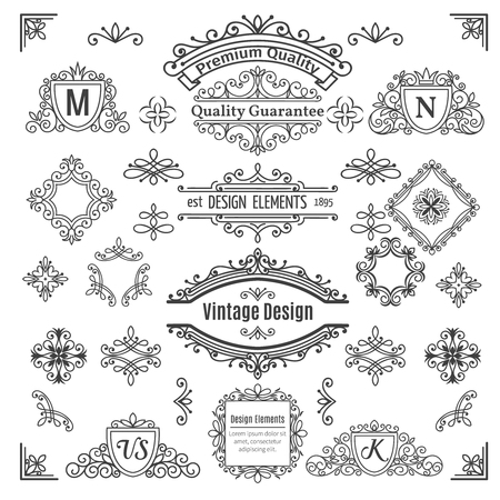 Ensemble d'éléments de ligne de vecteur vintage. Calligraphiques diviseurs décoratifs frontières tourbillonne parchemins monogrammes et cadres.