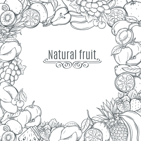 Fruits hand drawn frame. Ink vintage fruits backgroud. Vector illustration with decorative fruits.
