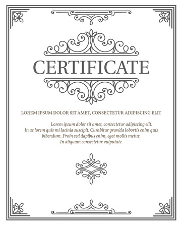 Vertical Certificate Template Diploma Linear Vintage Frame