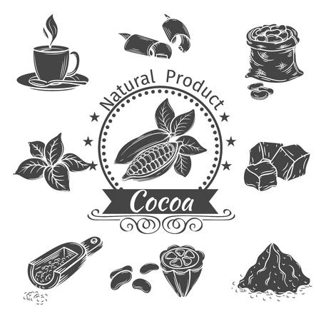 Monochrome icônes cacao. Les éléments décoratifs de cacao pour des dépliants, des affiches, des badges, des logotypes et autres design.