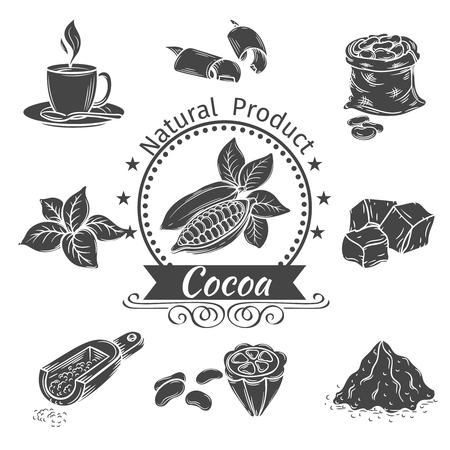 Monochrome icons cocoa.  Decorative elements of cocoa for flyers , posters, badges, logotypes and other design. Illustration