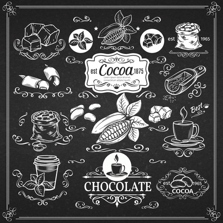 cacao: Decorative vintage cocoa  icons.  Ink vintage design for cocoa shop. Vector design elements  of cocoa  and calligraphy swirl. Illustration