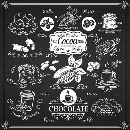 Dekorative Vintage Kakao-Icons. Ink Vintage-Design für Kakao-Shop. Vector Design-Elemente von Kakao und Kalligraphiestrudel.