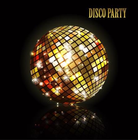 Palla di discoteca d'oro. Palcoscenico lucido illuminato su uno sfondo scuro per i manifesti di volantini di progettazione e altro. Illustrazione vettoriale con una palla di disco di vetro. Vettoriali