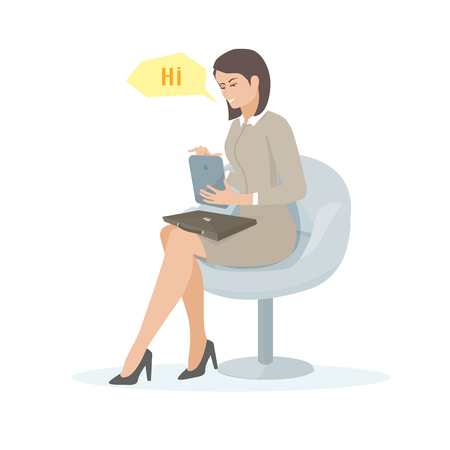 woman tablet: Young woman sitting in a chair and using a tablet.   Cartoon vector illustration of a young woman with a tablet. Illustration