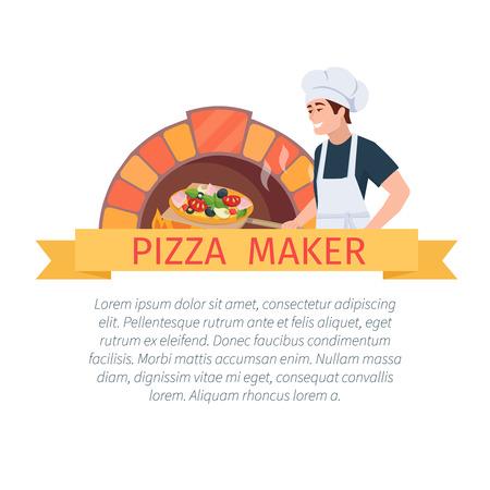 Ilustración de dibujos animados cocinero de pizzas y horno de pizza. La pizza etiqueta de fabricante. Vector concepto de pizza.