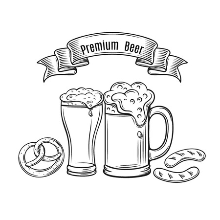 Decorative outline monochrome icons glasses of beer. Vector illustration of beer in the old ink style Иллюстрация