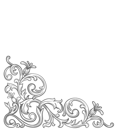 바로크 코너. 레트로 스크롤 acanthus 단풍 소용돌이 장식 테두리. 장식 코너 복고풍 디자인 요소입니다. 빈티지 코너 손을 벡터을 그립니다.