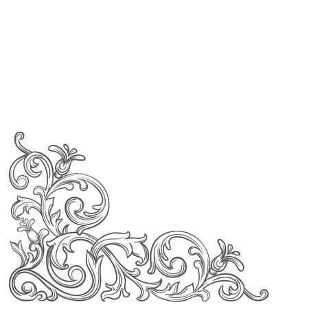 Baroque corner.  Retro scroll acanthus foliage swirl ornament  border. Decorative corner retro design element. Vintage corner hand draw vector.