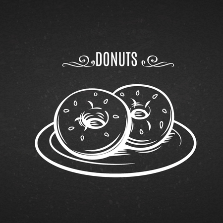chalkboard: Hand drawn donuts  chalkboard. Vector Decorative icon donuts in the old ink style. Illustration