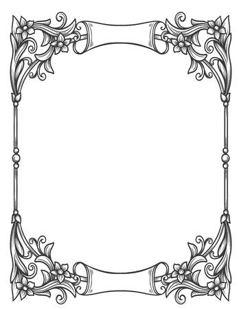 cadre décoratif floral vintage pour les formes de menu de restaurant, certificats et décoration page.