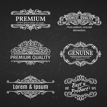 decorative design: Vintage Banners Labels Frames. Calligraphic Design Elements . Decorative Swirls, Scrolls, Dividers and Page Decoration in chalkboard style.