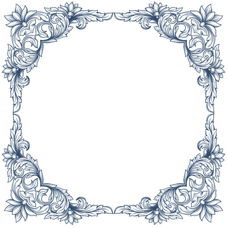 Vintage square decorative floral frame for restaurant menu forms, certificates and page decoration.