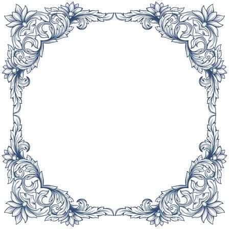baroque: Vintage square decorative floral frame for restaurant menu forms, certificates and page decoration.