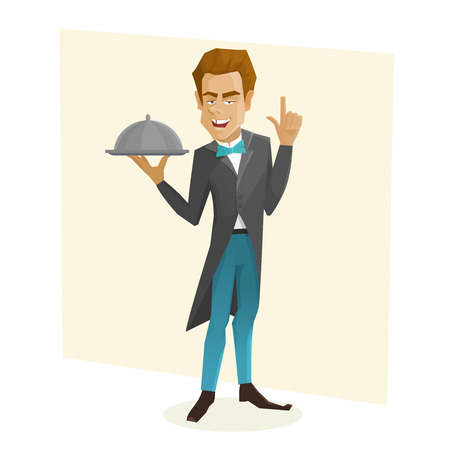 waiter tray: Waiter with a tray. Cartoon waiter holds dish.