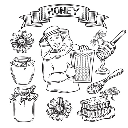honeyed: Set hand drawn monochrome icon honey. Decorative honey icons in old style for the design natural healthy food production Honey , labels cards and brochures
