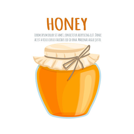 natural food: Honey bank vector illustrations. Cartoon flat of the bank with honey on a white background. For brochures, banner and market natural healthy food production Honey .