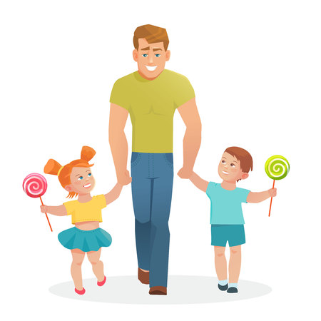 dad son: Happy father with daughter and son. Vector illustration of a dad with the kids in a cartoon flat style .