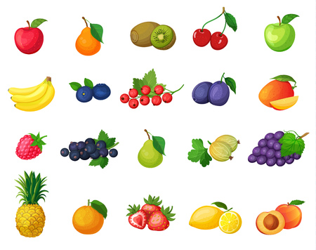 Vector set of icons fruits . ?olorful fruits in a cartoon flat style.