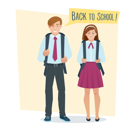school uniform: couple of students girl and boy in school uniform with school bag