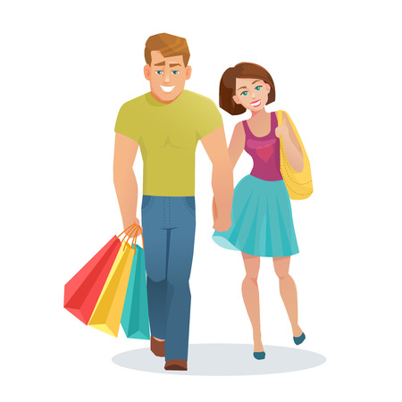 girl illustration: Vector young couple man and woman walking with shopping bags in cartoon flat style