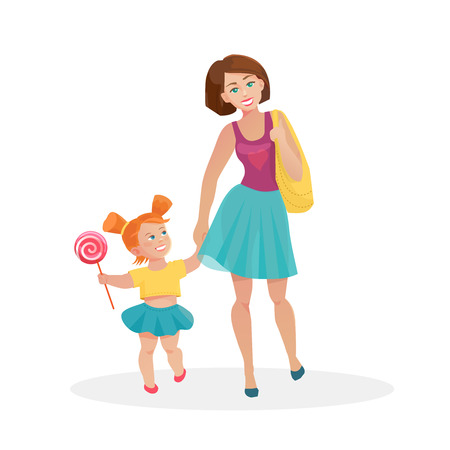 holding hands: Vector cartoon flat mom and young daughter walking