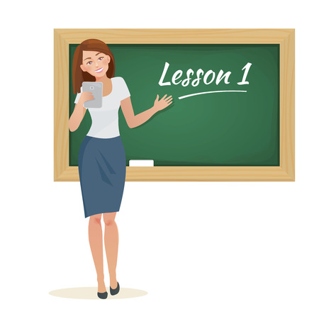 Vector cartoon flat woman teacher stands at the blackboard Ilustrace