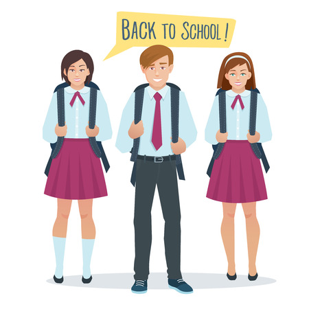 school girl uniform: Vector cartoon flat students boy and girl in school uniform stand with a school bag