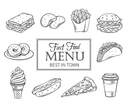 Vector hand drawn icons fast food. Illustration with snacks, hamburger, fries, hot dog, tacos, coffee, sandwich, ice cream in old ink style. 일러스트