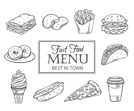 Vector dibujado a mano iconos de comida rápida. Ilustración con bocadillos, hamburguesas, patatas fritas, hot dog, tacos, café, sándwich, helados en el estilo de tinta usado. Foto de archivo - 65254066