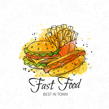 fry: Fast food hand drawn banner. Watercolor design, vector illustration.