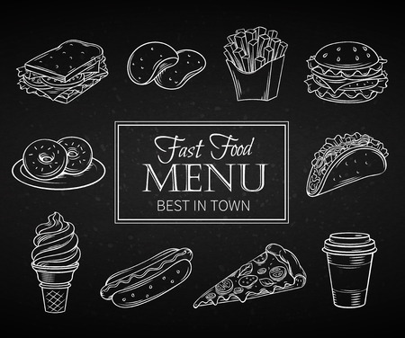 hamburger and fries: Set hand drawn icon fast food in chalk board style. Decorative Illustration with snacks, hamburger, fries, hot dog, tacos, coffee, sandwich, ice cream in line art style. Illustration