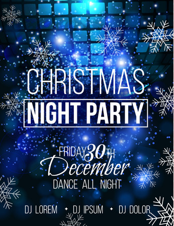 Disco christmas night party vector poster template with sparkles and glitter , glow light effect.