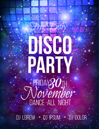 Disco party vector poster template with sparkles and glitter , glow light effect. Ilustração