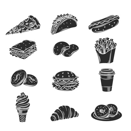 hamburger and fries: Vector monochrome decorative icons fast food. Illustration with snacks, hamburger, fries, hot dog, tacos, coffee, sandwich, ice cream in retro style.