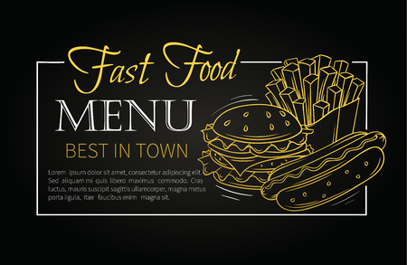 hamburger and fries: Fast food design menu. Vector hand drawn icons fast food. Illustration with snacks, hamburger, fries, hot dog, tacos, coffee, sandwich, ice cream in old ink style.