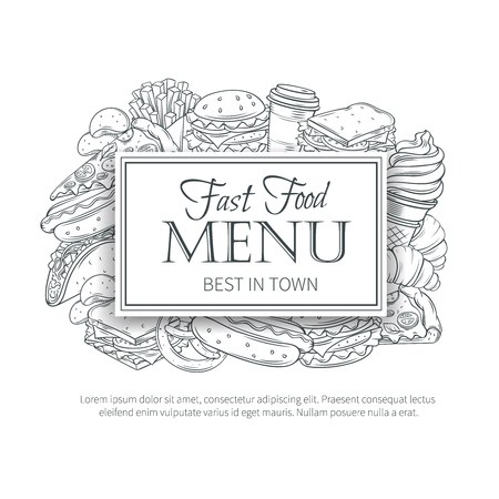 hamburger and fries: Fast food design menu. Vector hand Illustration with snacks, hamburger, fries, hot dog, tacos, coffee, sandwich, ice cream in old ink style.