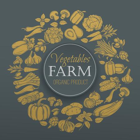 pimenton: Verduras de menú de diseño de oro. vector dibujado a mano iconos decorativos verduras.