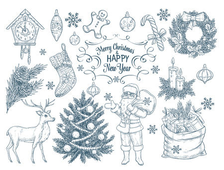 christmas candle: Set of hand drawn christmas elements. Sketch vector illustration with Santa Claus, Christmas tree, wreath, clock, deer bag with gifts, fir, branch and candles.