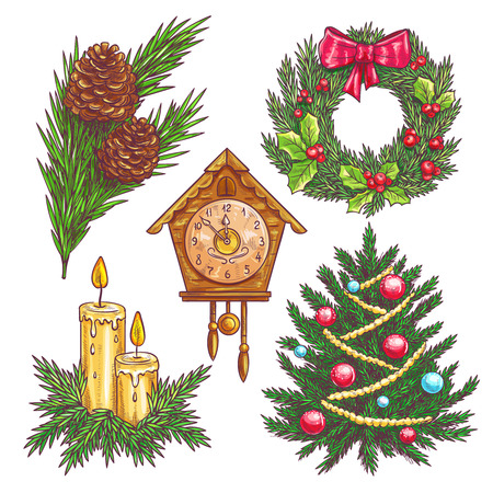 chimes: Vector hand drawn christmas decorative elements. Christmas wreath, pine branches, Christmas tree, clock chimes, candles in sketch style. Illustration