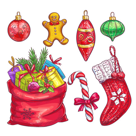 christmas sock: Vector hand drawn christmas decorative elements. Sock, bag with gifts, Christmas cookies, candy, ornaments in sketch style.